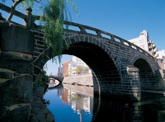 One of the renowned stone bridges spanning the Nakajima River, the lifeblood of Nagasaki